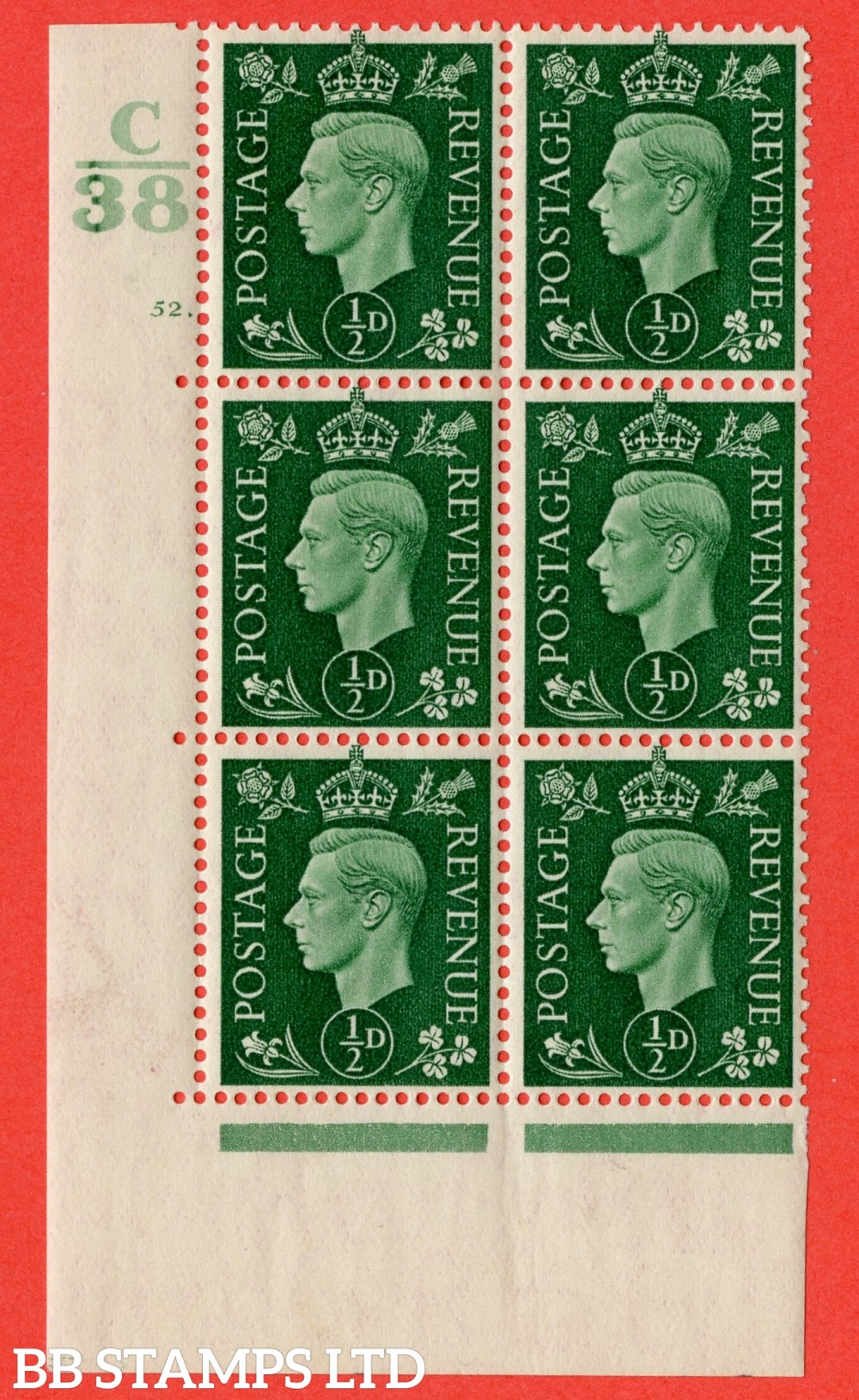 "SG. 462. Q1. ½d Green. A fine lightly mounted mint "" Control C38 cylinder 52 dot "" block of 6 with perf type 5 E/I with marginal rule."