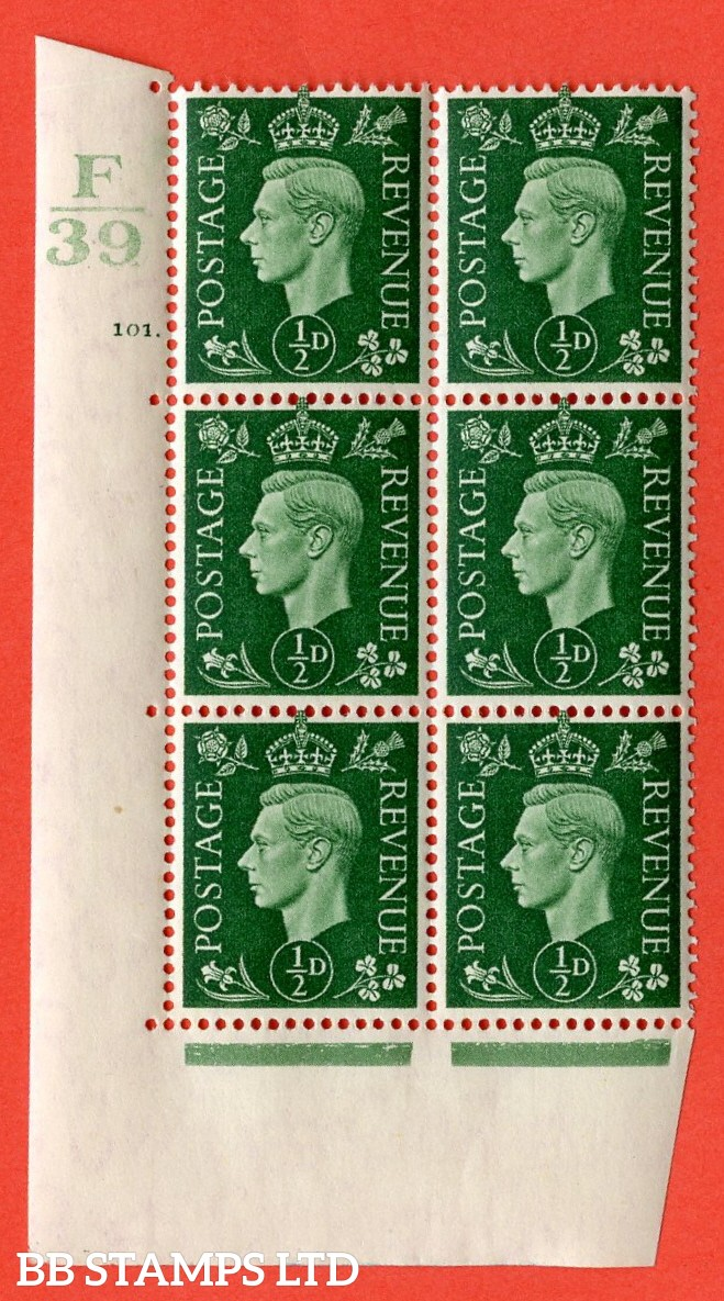 "SG. 462. Q1. ½d Green. A superb UNMOUNTED MINT "" Control F39 cylinder 101 dot "" block of 6 with perf type 5 E/I with marginal rule."