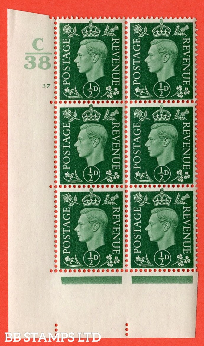 "SG. 462. Q1. ½d Green. A superb UNMOUNTED MINT "" Control C38 cylinder 37 no dot "" block of 6 with perf type 5 E/I with marginal rule."