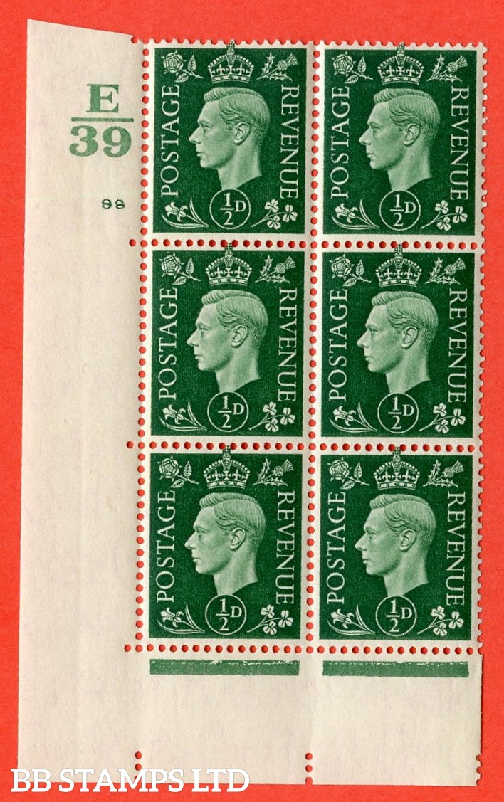 "SG. 462. Q1. ½d Green. A very fine lightly mounted mint "" Control E39 cylinder 98 no dot "" block of 6 with perf type 5 E/I with marginal rule."