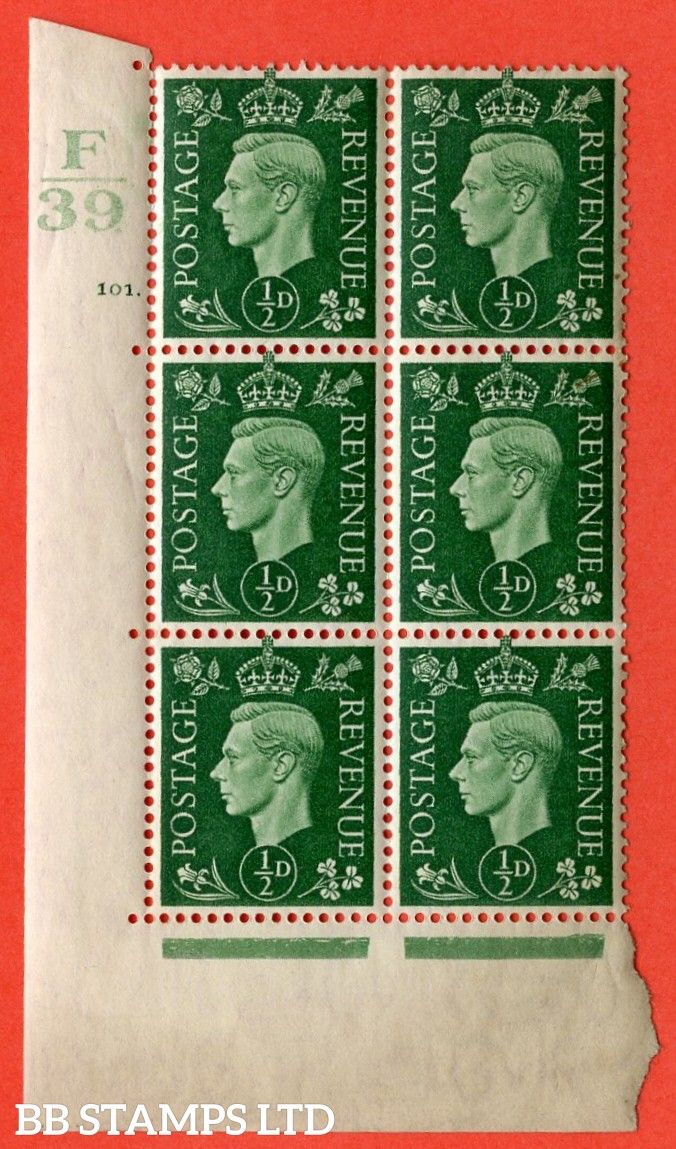 "SG. 462. Q1. ½d Green. A superb UNMOUNTED MINT"" Control F39 cylinder 101 dot "" block of 6 with perf type 5 E/I with marginal rule."