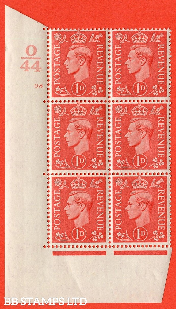 "SG. 486. Q5. 1d Pale scarlet. A superb UNMOUNTED MINT "" Control O44 cylinder 98 no dot "" control block of 6 with perf type 5 E/I."