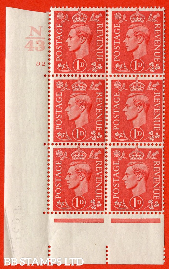 "SG. 486. Q5. 1d Pale scarlet. A very fine lightly mounted mint ""  Control N43 cylinder 92 no dot "" control block of 6 with perf type 5 E/I. Crease in margin."