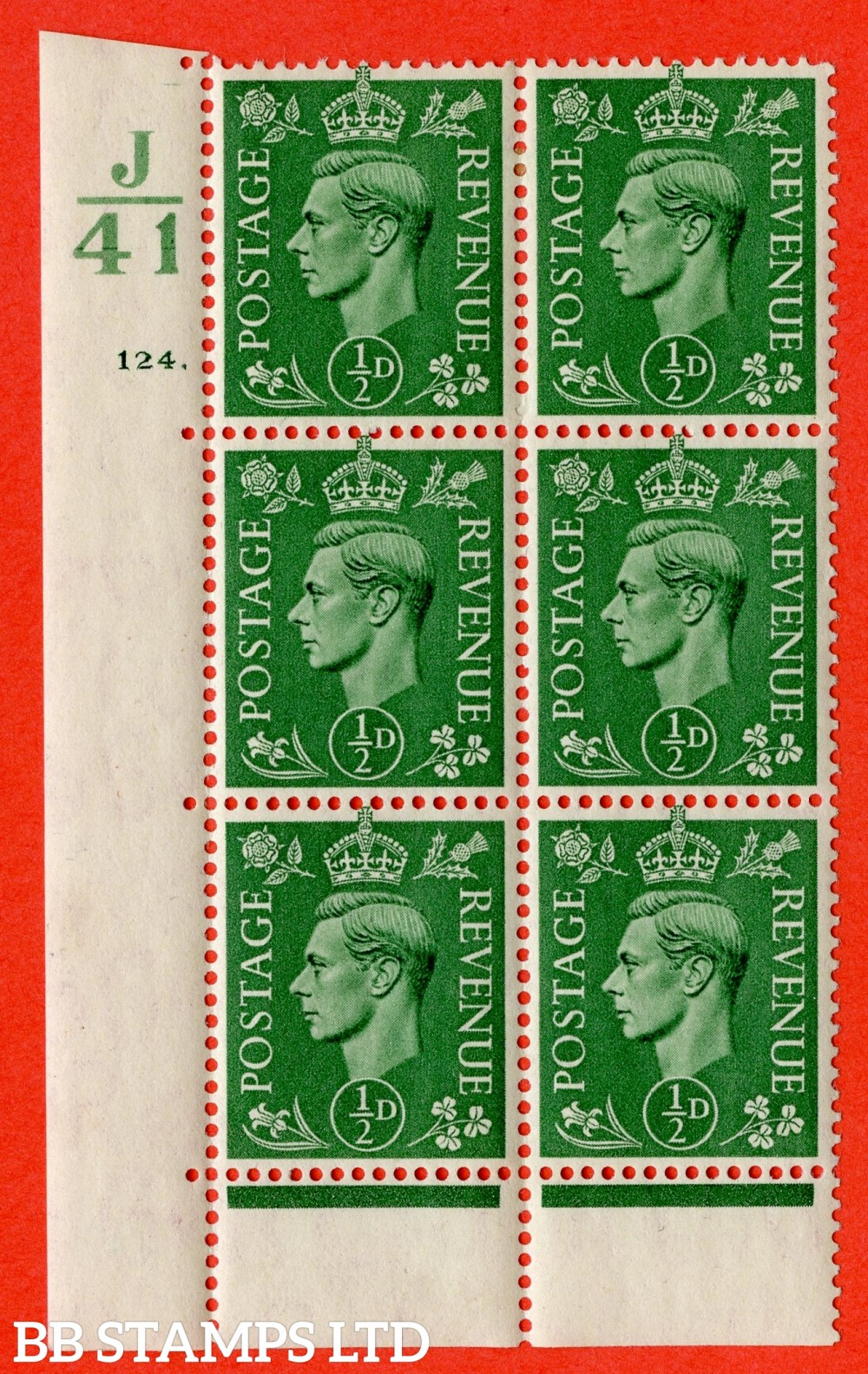 "SG. 485. Q2. ½d Pale Green. A very fine lightly mounted mint "" Control J41 cylinder 124 dot "" block of 6 with perf type 6B E/P with marginal rule."