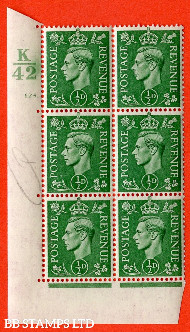 "SG. 485. Q2. ½d Pale Green. A superb UNMOUNTED MINT "" Control K42 cylinder 125 dot "" control block of 6 with perf type 5 E/I."