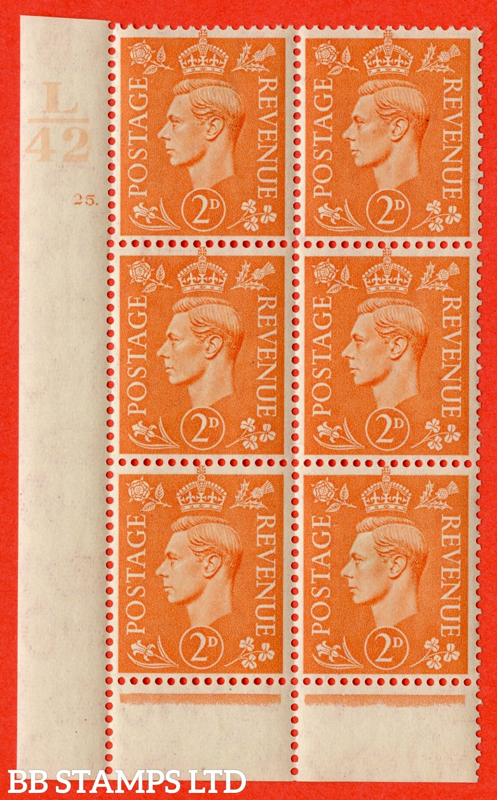 "SG. 488. Q11. 2d Pale Orange. A fine ligthtly mounted mint "" Control L42 cylinder 25 dot "" control block of 6 with perf type 6 I/P."