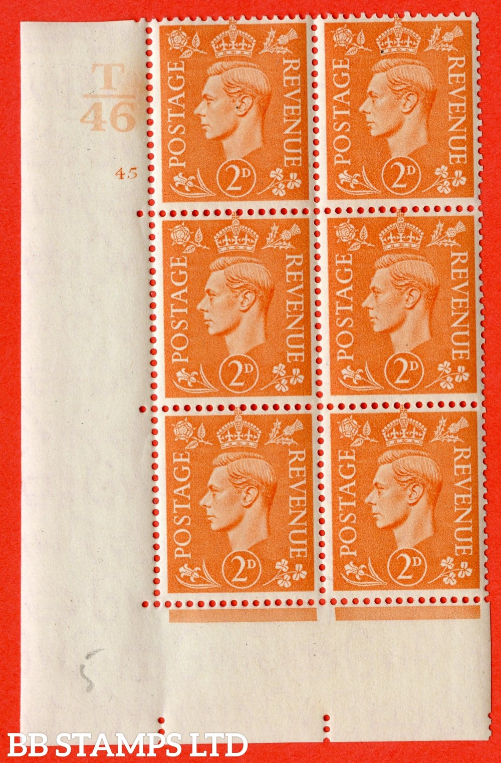"SG. 488. Q11. 2d Pale Orange. A fine ligthtly mounted mint "" Control T46 cylinder 45 no dot "" control block of 6 with perf type 5 E/I."