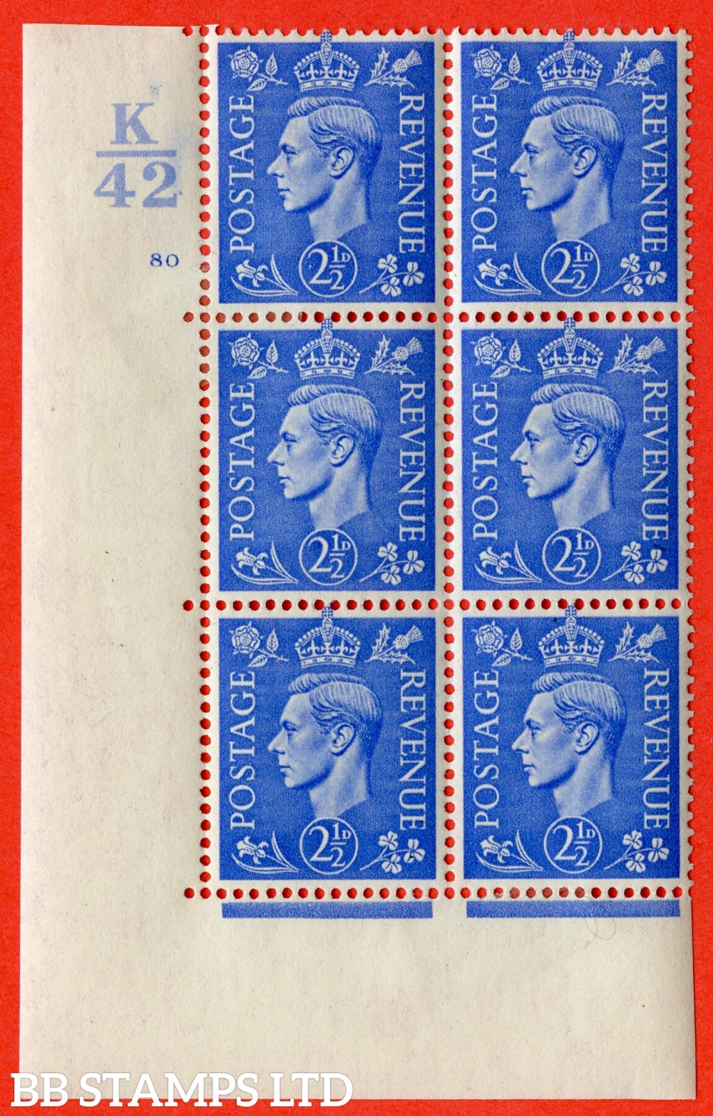 "SG. 489. Q14. 2½d Light ultramarine. A very fine lightly mounted mint ""  Control K42 cylinder 80 no dot "" control block of 6 with perf type 5 E/I."