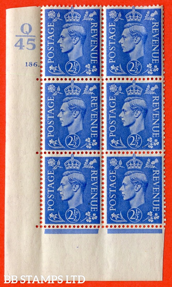"SG. 489. Q14. 2½d Light ultramarine. A  superb UNMOUNTED MINT ""  Control Q45 cylinder 186 dot "" control block of 6 with perf type 5 E/I."