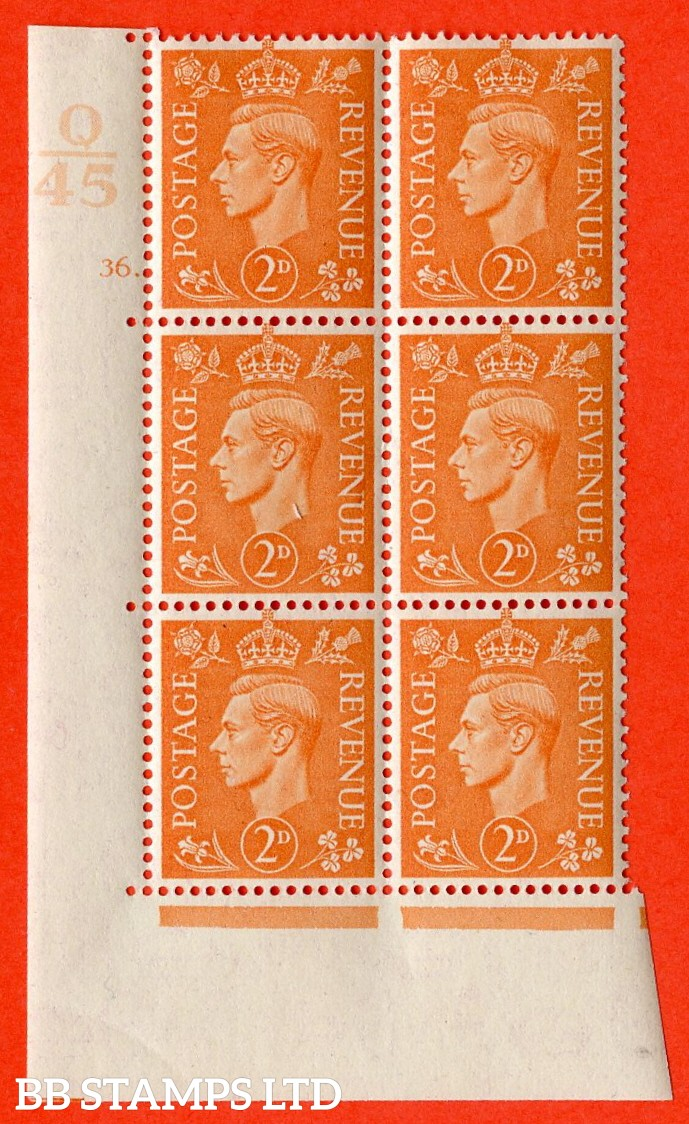 "SG. 488. Q11. 2d Pale Orange. A very fine lightly mounted mint. "" Control Q45 cylinder 36 dot "" control block of 6 with perf type 5 E/I."
