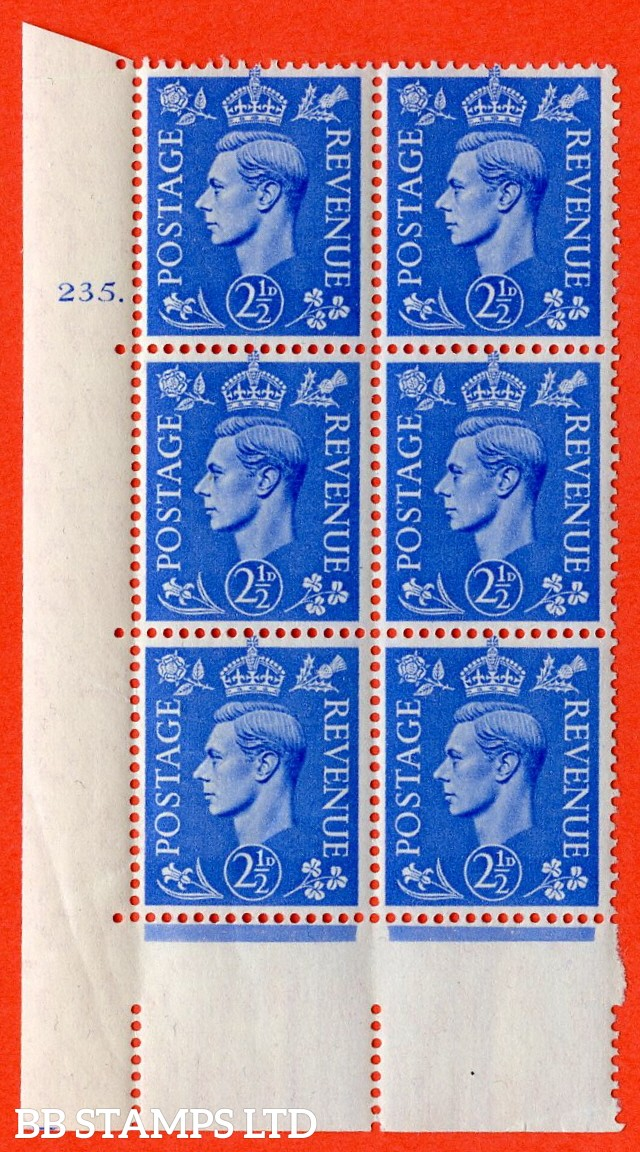 "SG. 489. Q14. 2½d Light ultramarine. A superb UNMOUNTED MINT ""  No Control cylinder 235 no dot "" control block of 6 with perf type 5 E/I."