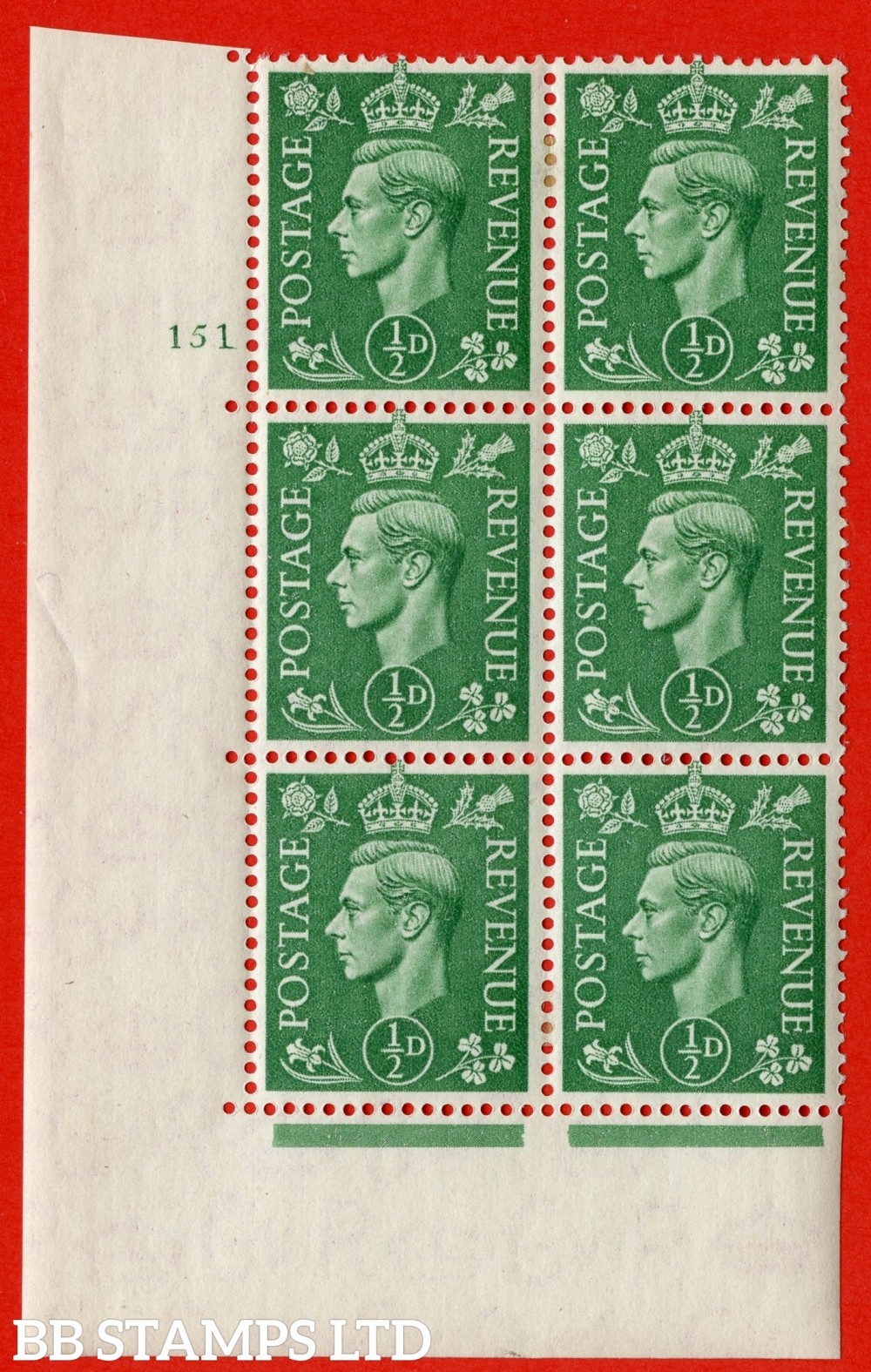 "SG. 485. Q2. ½d Pale Green. A very fine lightly mounted mint "" No Control cylinder 151 no dot "" block of 6 with perf type 5 E/I with marginal rule."
