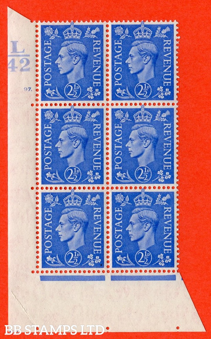 """SG. 489. Q14. 2½d Light ultramarine. A superb UNMOUNTED MINT """"  Control L42 cylinder 97 dot """" control block of 6 with perf type 5 E/I. Creased."""