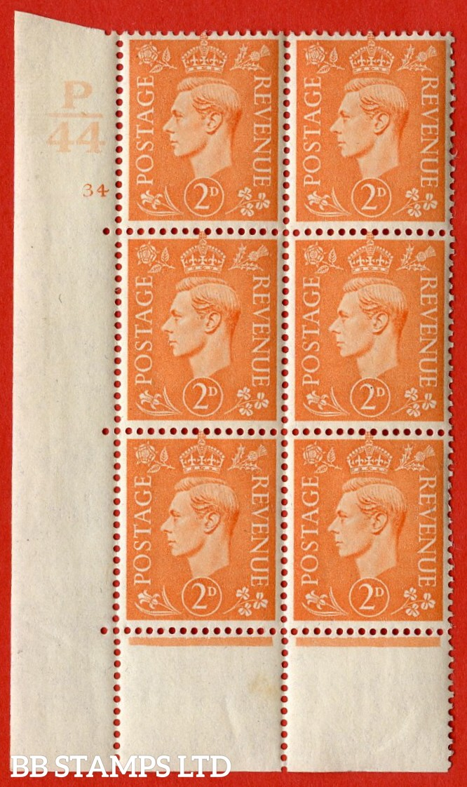 "SG. 488. Q11. 2d Pale Orange. A superb UNMOUNTED MINT. "" Control P44 cylinder 34 no dot "" control block of 6 with perf type 5 E/I with a near perfect encroachment."