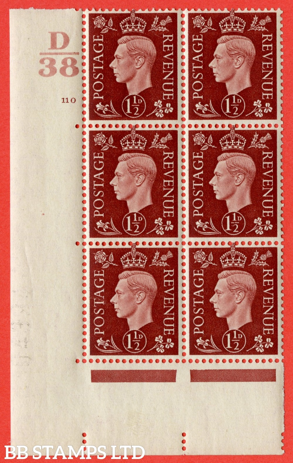 "SG. 464. Q7. 1½d Red-Brown. A very fine mounted mint "" Control D38 cylinder 110 no dot "" control block of 6 with perf type 5 E/I. with marginal rule."