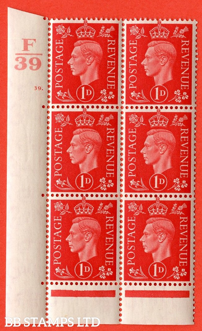 "SG. 463. Q4. 1d Scarlet. A superb UNMOUNTED MINT "" Control F39 cylinder 39 dot "" block of 6 with perf type 6B E/P with marginal rule."