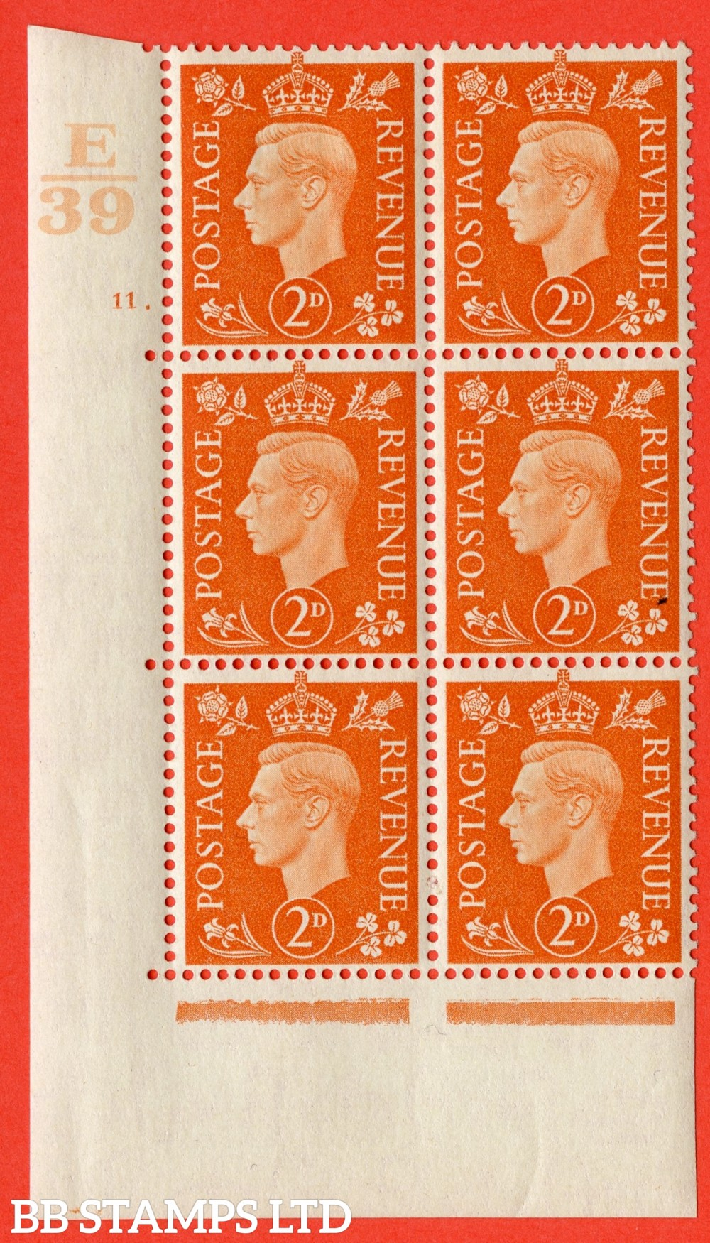 "SG. 465. Q10. 2d Orange. A very fine lightly mounted mint "" Control E39 cylinder 11 no dot "" control block of 6 with perf type 5 E/I."