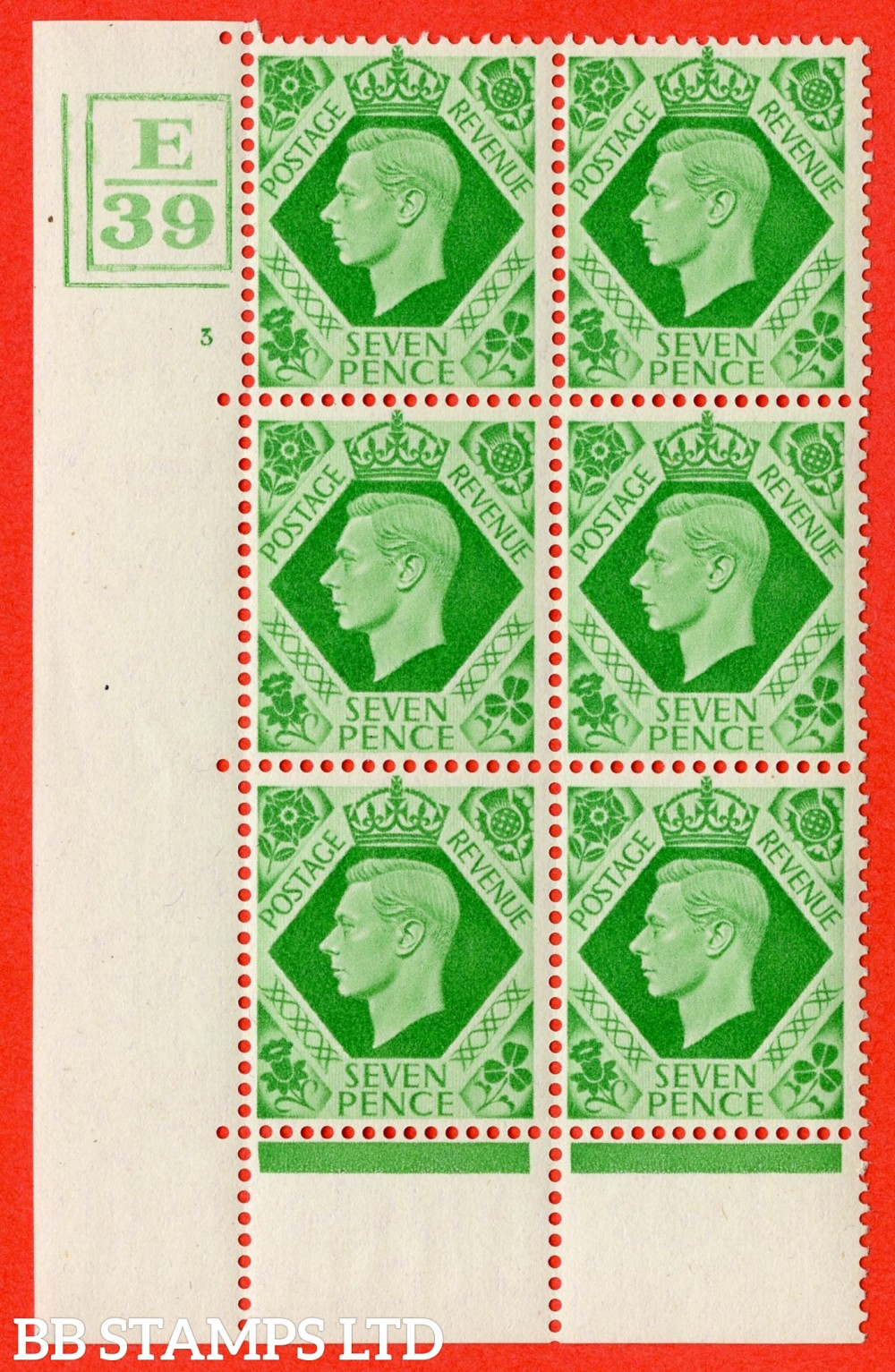 """SG. 471. Q23. 7d Emerald-Green. A fine lightly mounted mint """" Control E39 Box and Bar bottom and left cylinder 3 no dot """" control block of 6 with perf type 6B E/P"""