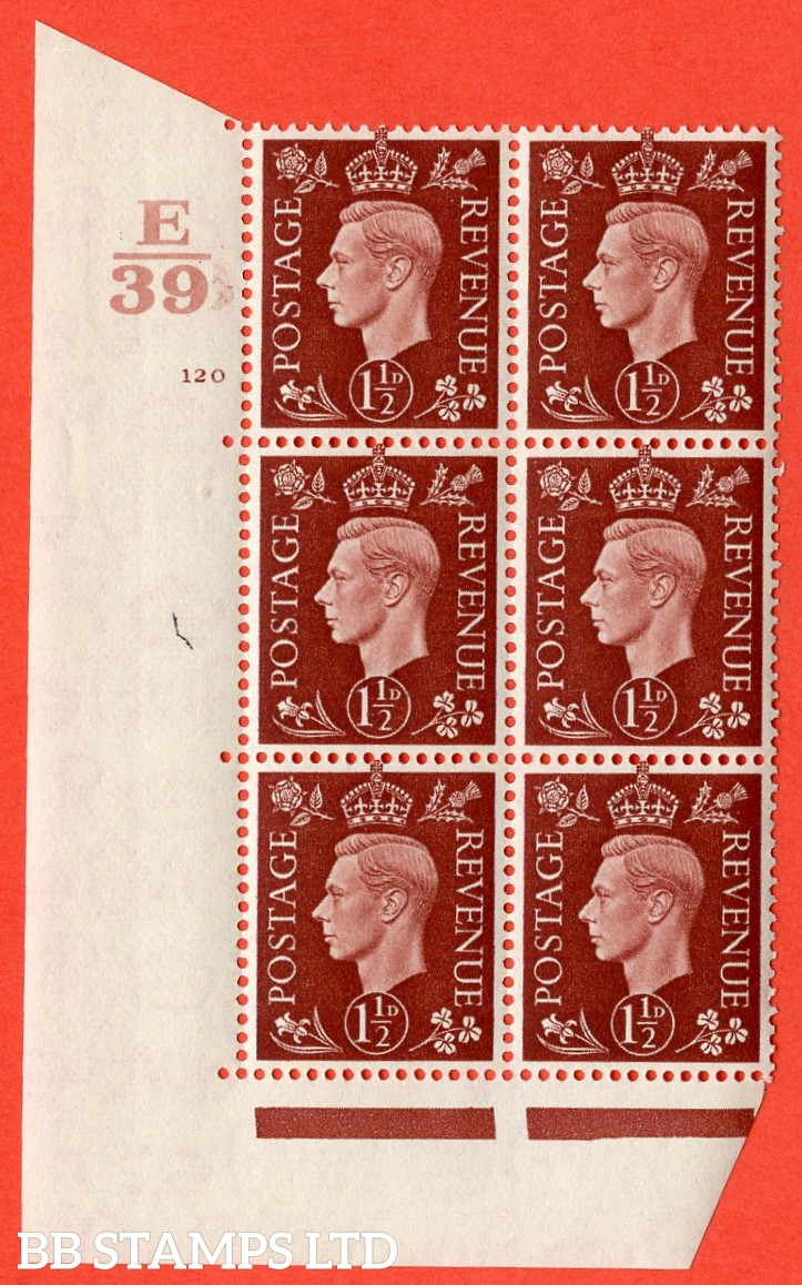 "SG. 464. Q7. 1½d Red-Brown. A superb UNMOUNTED MINT "" Control E39 cylinder 120 no dot "" control block of 6 with perf type 5 E/I. with marginal rule."
