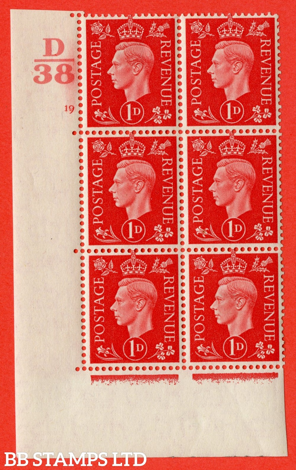 "SG. 463. Q4. 1d Scarlet. A very fine lightly mounted mint "" Control D38 cylinder 19 no dot "" block of 6 with perf type 5 E/I with marginal rule."
