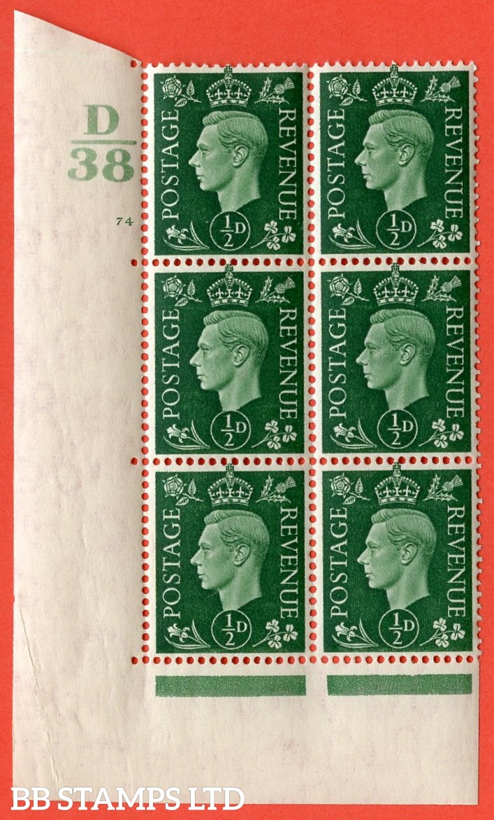"SG. 462. Q1. ½d Green. A superb UNMOUNTED MINT "" Control D38 cylinder 74 no dot "" block of 6 with perf type 5 E/I with marginal rule."