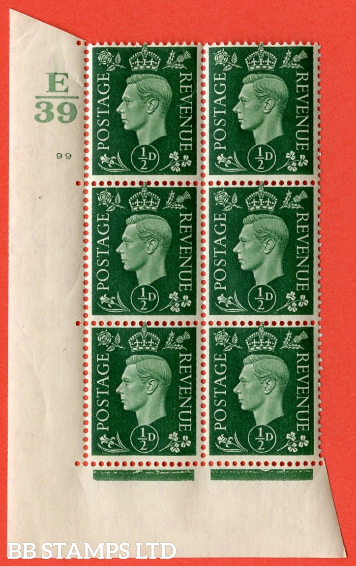 "SG. 462. Q1. ½d Green. A superb UNMOUNTED MINT "" Control E39 cylinder 99 no dot "" block of 6 with perf type 5 E/I with marginal rule."