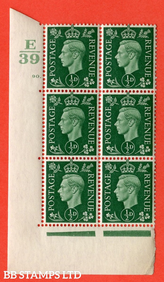 "SG. 462. Q1. ½d Green. A superb UNMOUNTED MINT"" Control E39 cylinder 90 dot "" block of 6 with perf type 5 E/I with marginal rule."