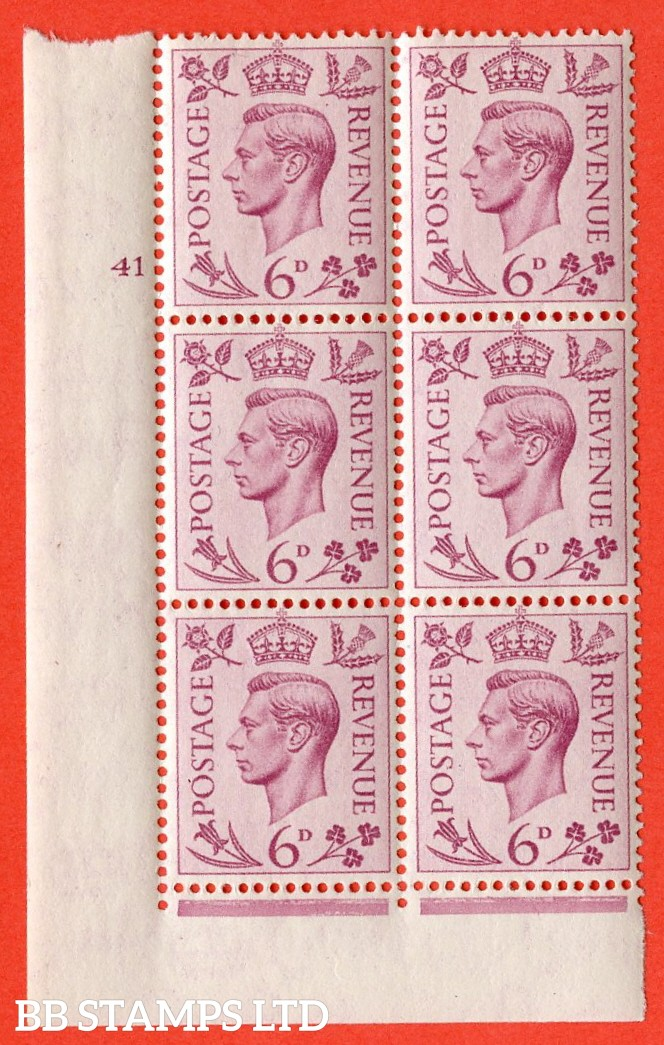 """SG. 470. Q22. 6d Purple. A very fine UNMOUNTED MINT """" No Control cylinder 41 no dot """" control block of 6 with perf type 2 I/E."""