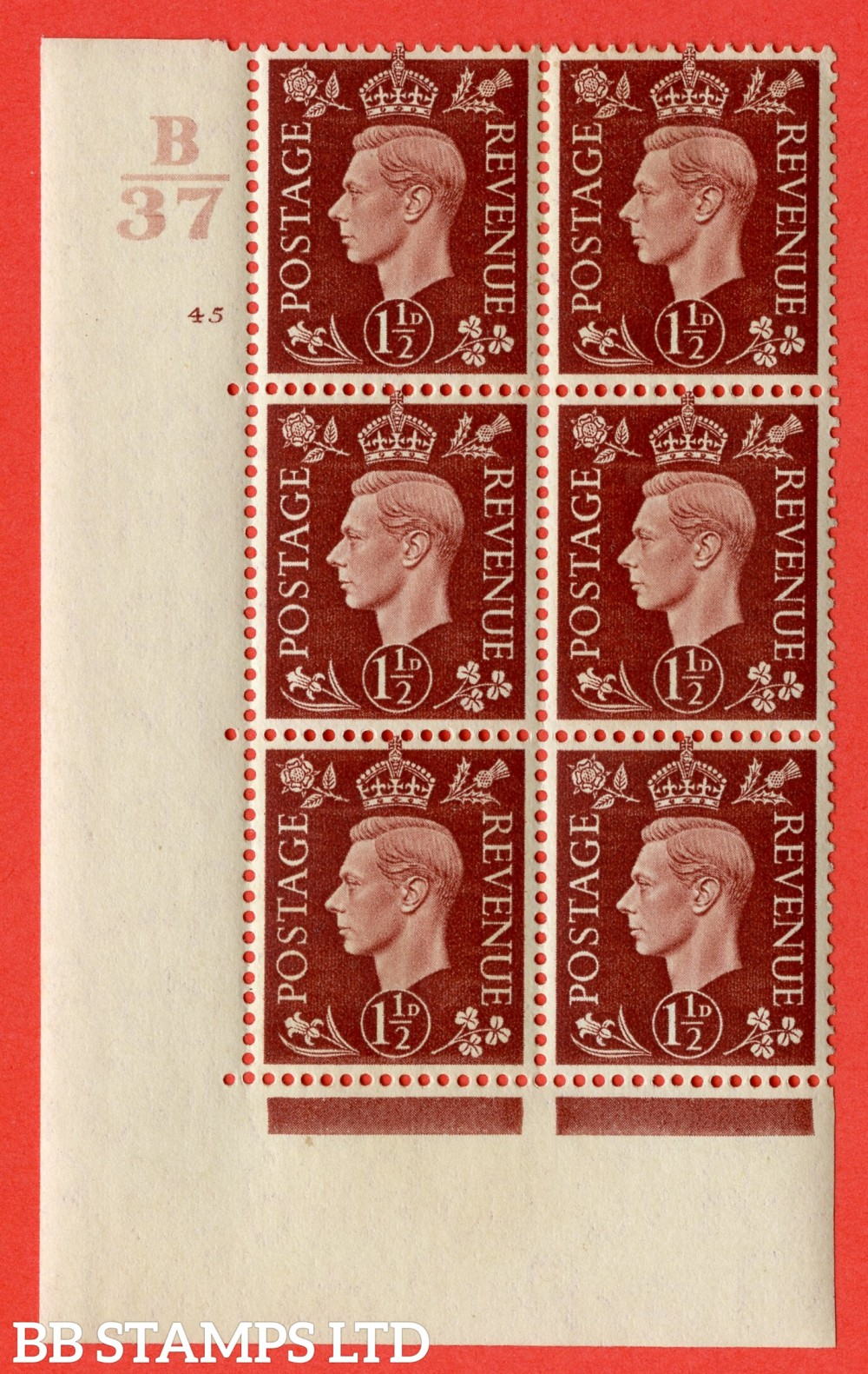 """SG. 464. Q7. 1½d Red-Brown. A fine lightly mounted mint """" Control B37 cylinder 45 no dot """" control block of 6 with perf type 5 E/I. with marginal rule."""