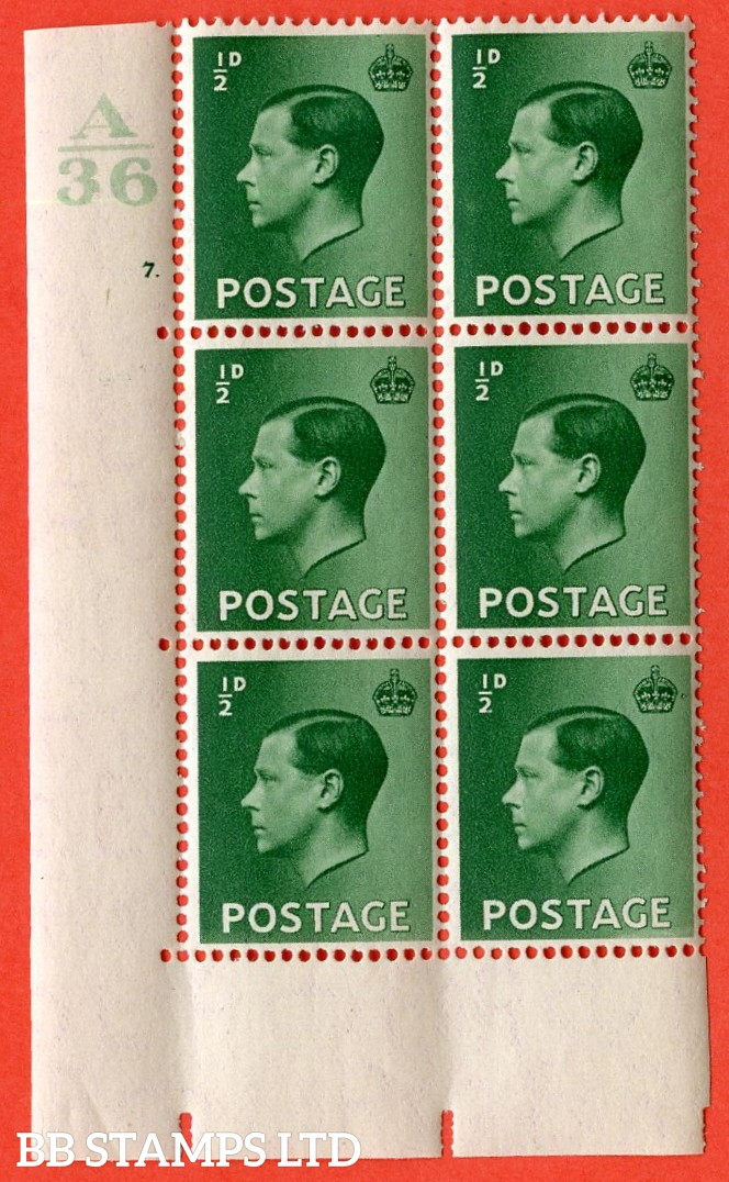 "SG. 457. P1. ½d Green. A superb UNMOUNTED MINT. "" Control  A36 cylinder 7 dot "" control block of 6 with perf type 5 E/I. with marginal rule."