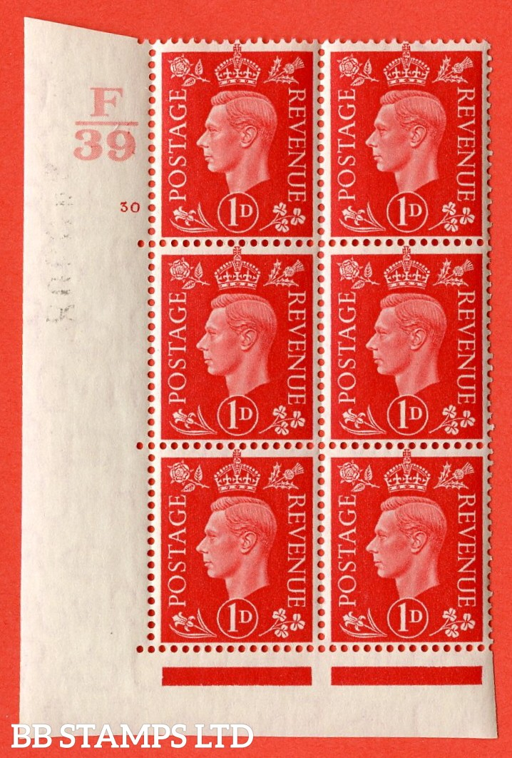 "SG. 463. Q4. 1d Scarlet. A very fine UNMOUNTED MINT "" Control F39 cylinder 30 no dot "" block of 6 with perf type 5 E/I with marginal rule"