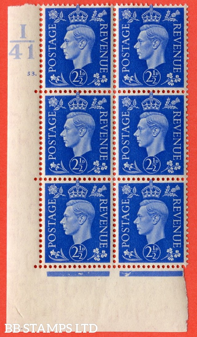 "SG. 466. Q13. 2½d Ultramarine.  A superb UNMOUNTED MINT "" Control I41 cylinder 53 dot "" control block of 6 with perf type 5 E/I without marginal rule."