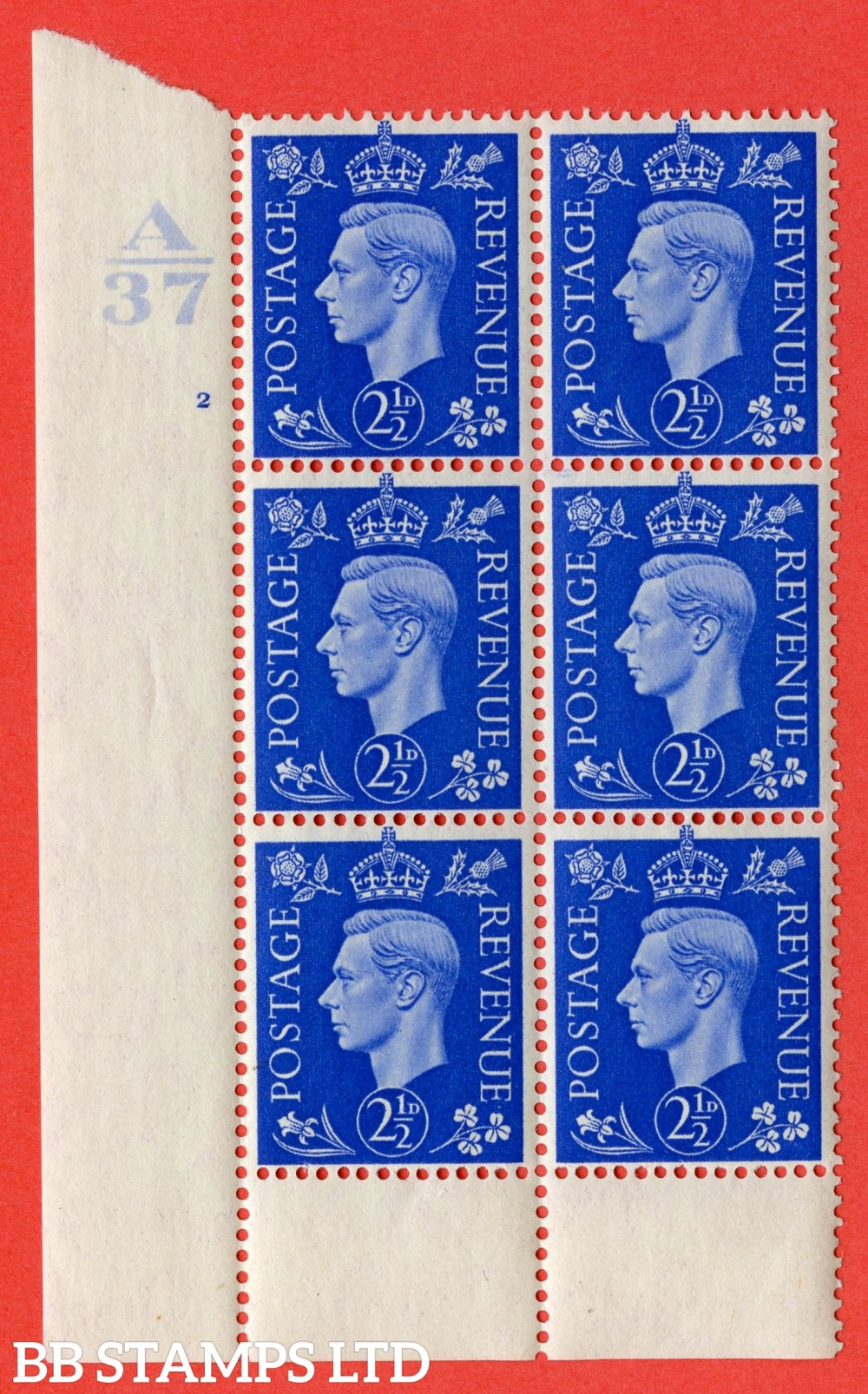 """SG. 466. Q13. d. 2½d Ultramarine.  A superb UNMOUNTED MINT """" Control A37 cylinder 2 no dot """" control block of 6 with perf type 6 I/P. with listed variety """" Scratch on temple """" row 20/1."""