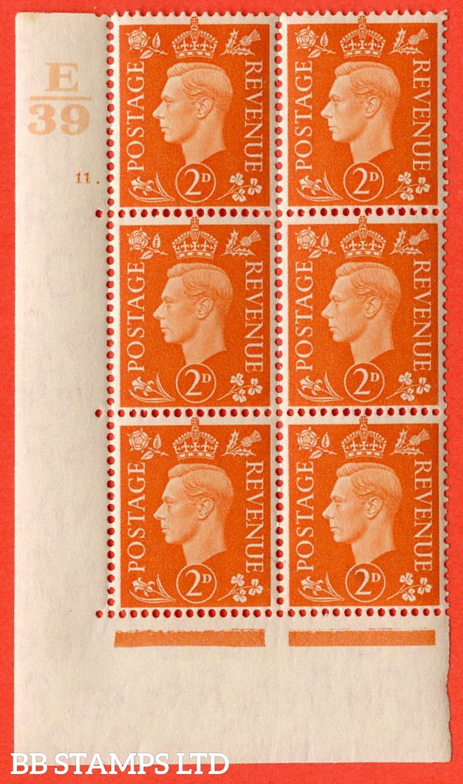 "SG. 465. Q10. 2d Orange. A very fine lightly mounted mint "" Control E39 cylinder 11 dot "" control block of 6 with perf type 5 E/I."