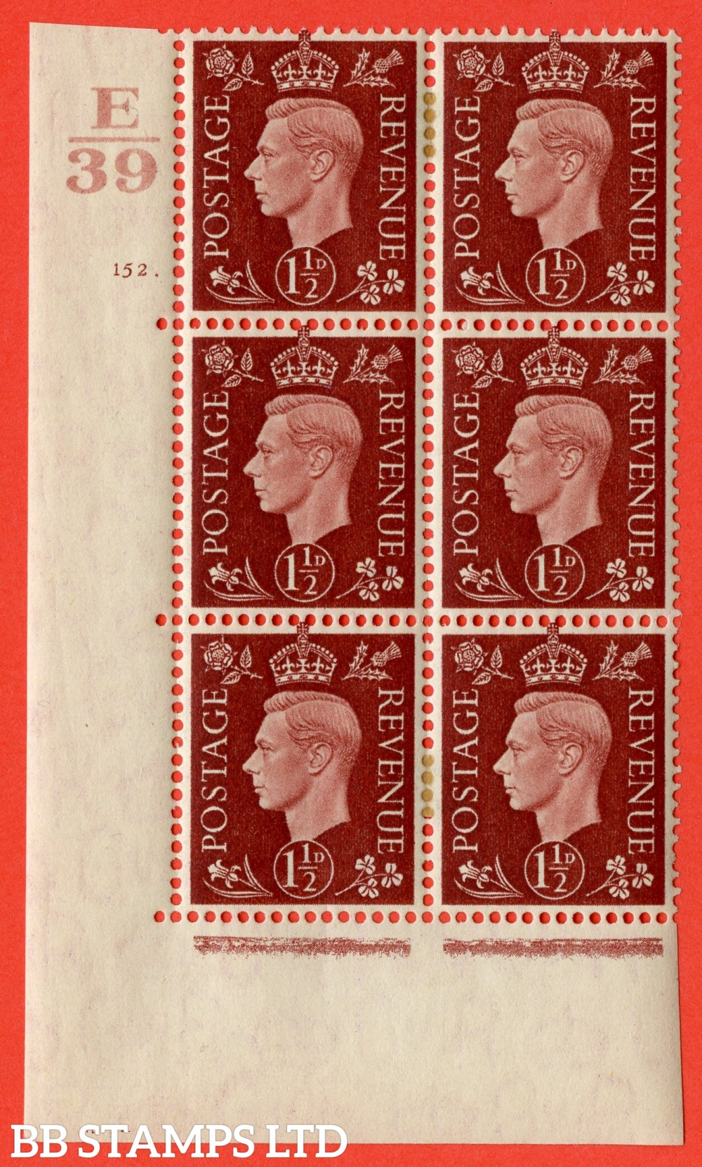 "SG. 464. Q7. 1½d Red-Brown. A very fine mounted mint "" Control E39 cylinder 152 dot "" control block of 6 with perf type 5 E/I. with marginal rule."