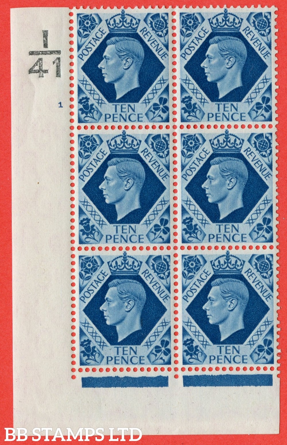 "SG. 474. Q26. 10d Turquoise-Blue. A fine mounted mint "" Control  I41 cylinder 1 no dot "" control block of 6 with perf type 2 I/E."