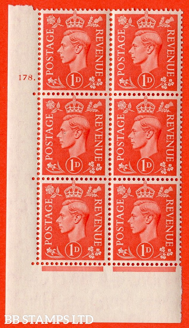 "SG. 486. Q5. 1d Pale scarlet. A superb UNMOUNTED MINT "" Control  cylinder 178 dot "" control block of 6 with perf type 5 E/I."