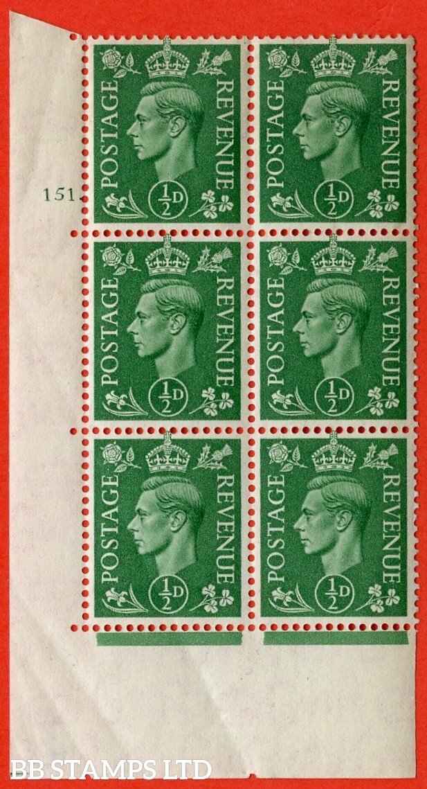 "SG. 485. Q2. ½d Pale Green. A superb UNMOUNTED MINT "" No Control cylinder 151 dot "" control block of 6 with perf type 5 E/I. Creased in bottom left."