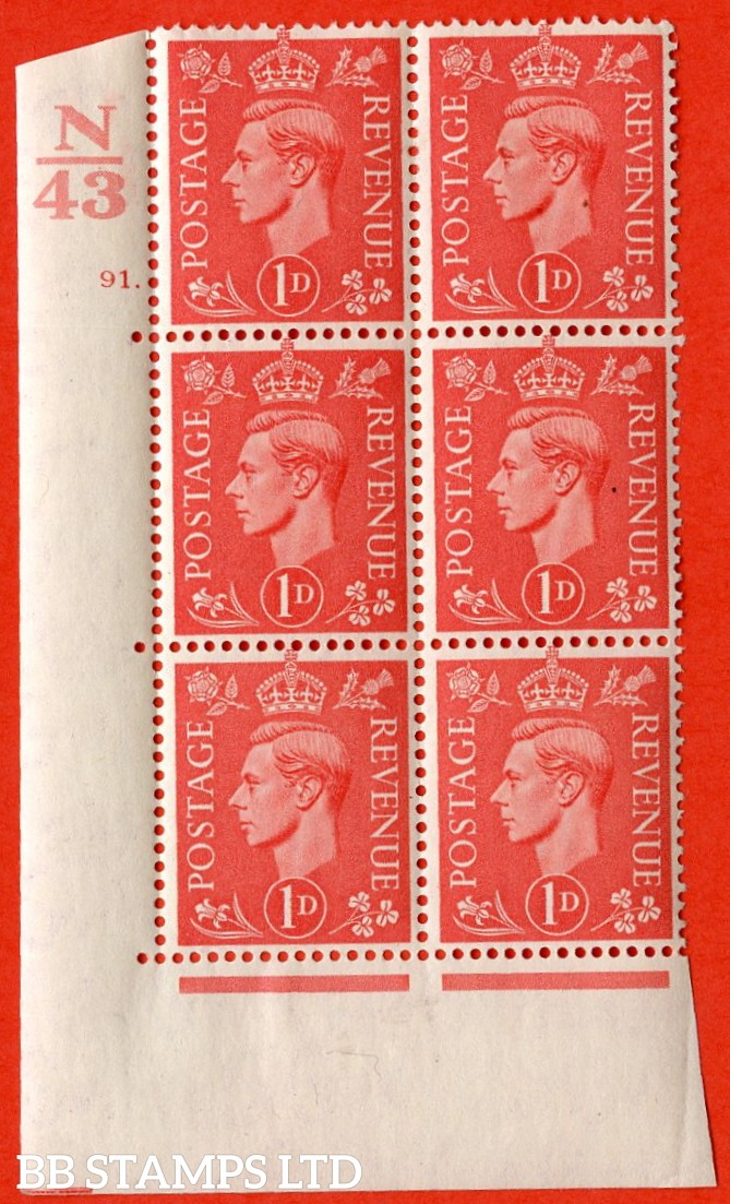 "SG. 486. Q5. 1d Pale scarlet. A very fine lightly mounted mint ""  Control N43 cylinder 91 dot "" control block of 6 with perf type 5 E/I."
