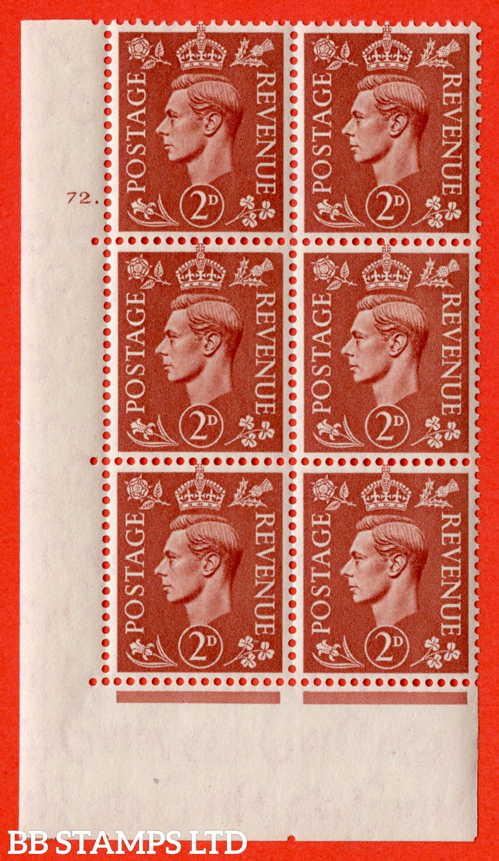 "SG. 506. Q12. 2d Pale Red-Brown. A fine lightly mounted mint "" No Control cylinder 72 dot "" control block of 6 with perf type 5 E/I."