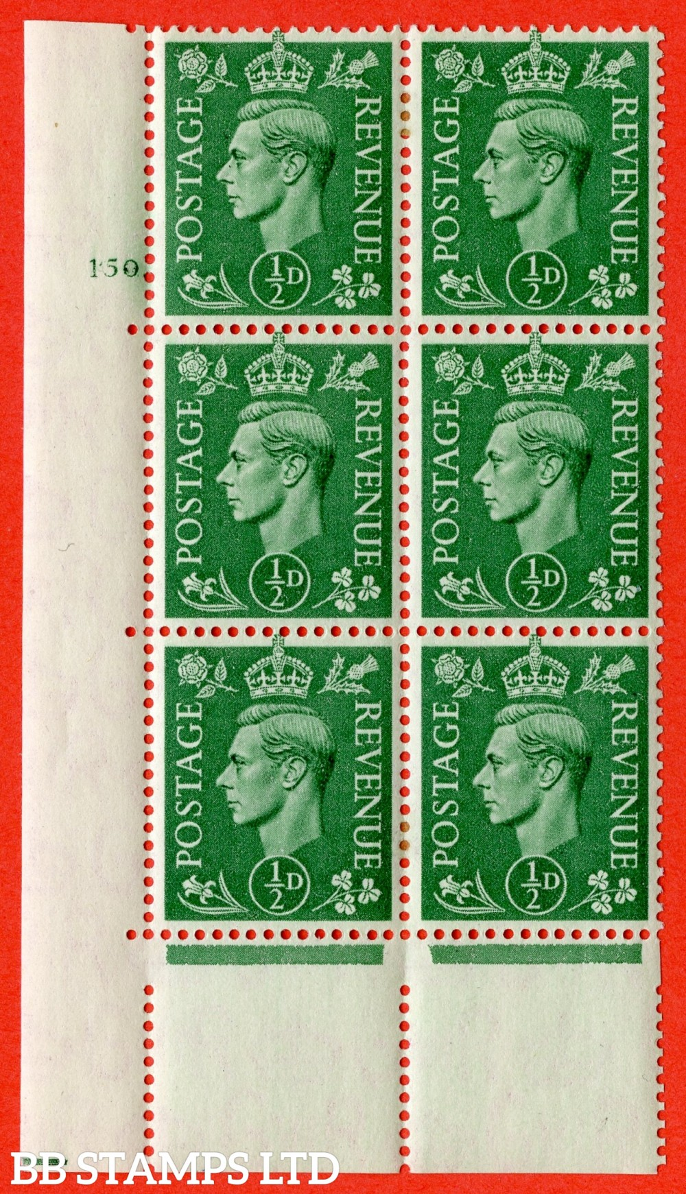 "SG. 485. Q2. ½d Pale Green. A very fine lightly mounted mint "" No Control cylinder 150 no dot "" block of 6 with perf type 5 E/I with marginal rule."