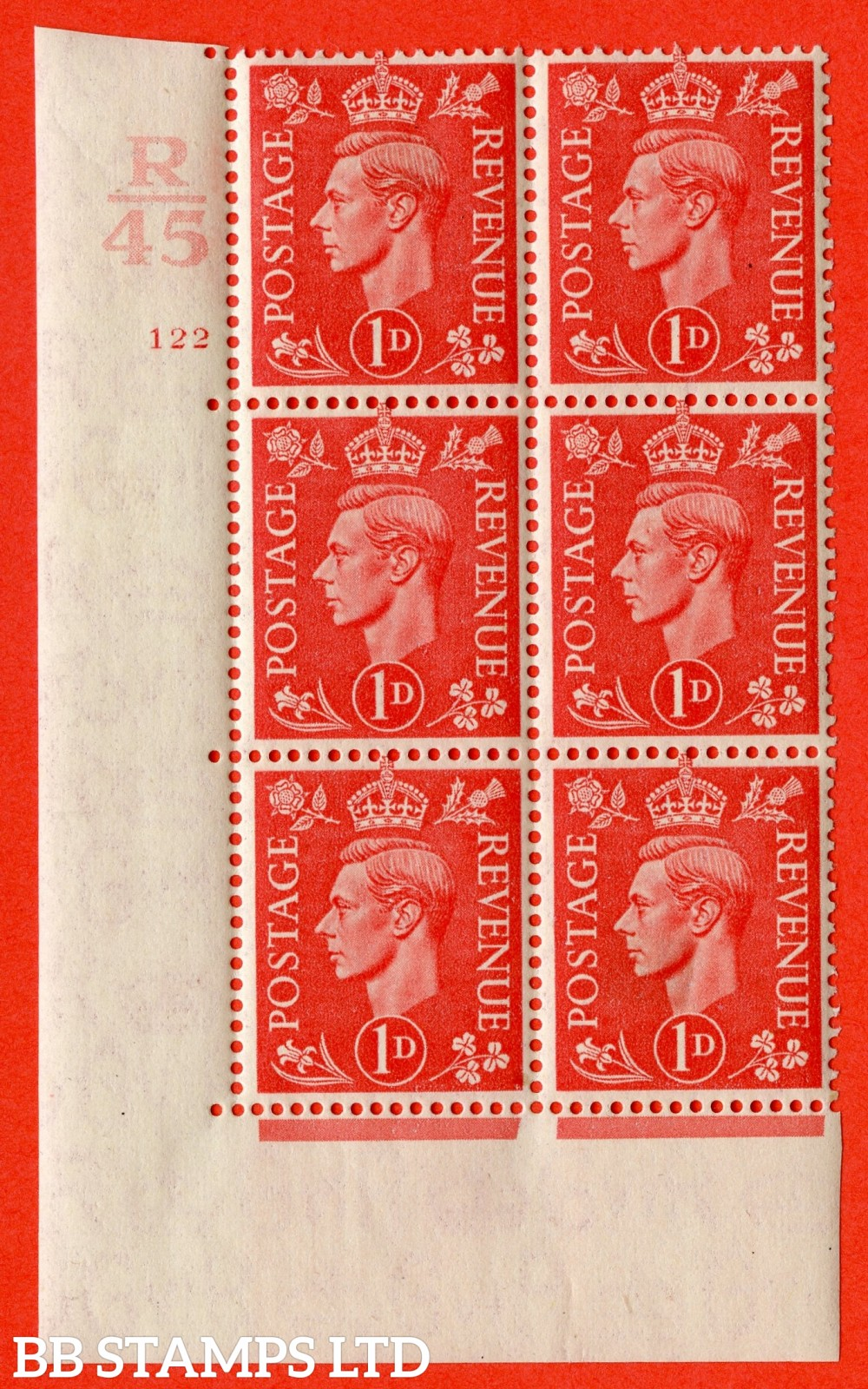 "SG. 486. Q5. 1d Pale scarlet. A fine lightly mounted mint "" Control R45 cylinder 122 no dot "" control block of 6 with perf type 5 E/I."