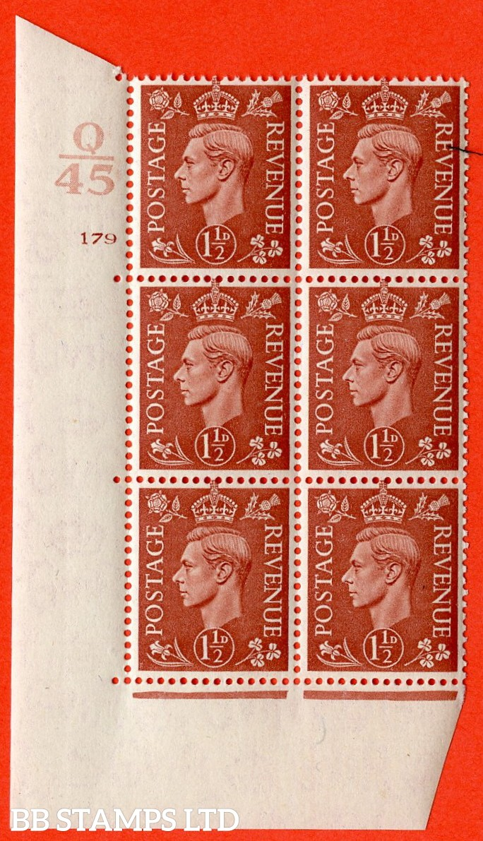 "SG. 487. Q8. 1½d Pale Red-Brown. A superb UNMOUNTED MINT "" Control Q45 cylinder 179 no dot "" control block of 6 with perf type 5 E/I."