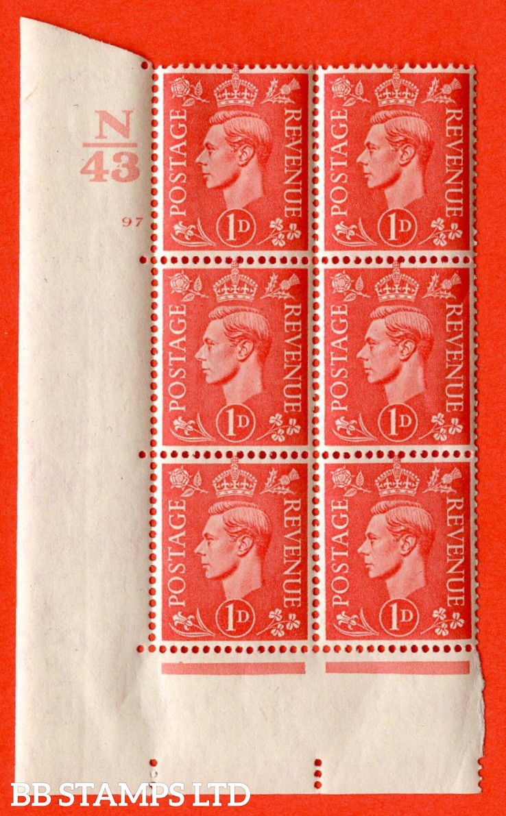 "SG. 486. Q5. 1d Pale scarlet. A superb UNMOUNTED MINT "" Control N43 cylinder 97 no dot "" control block of 6 with perf type 5 E/I."