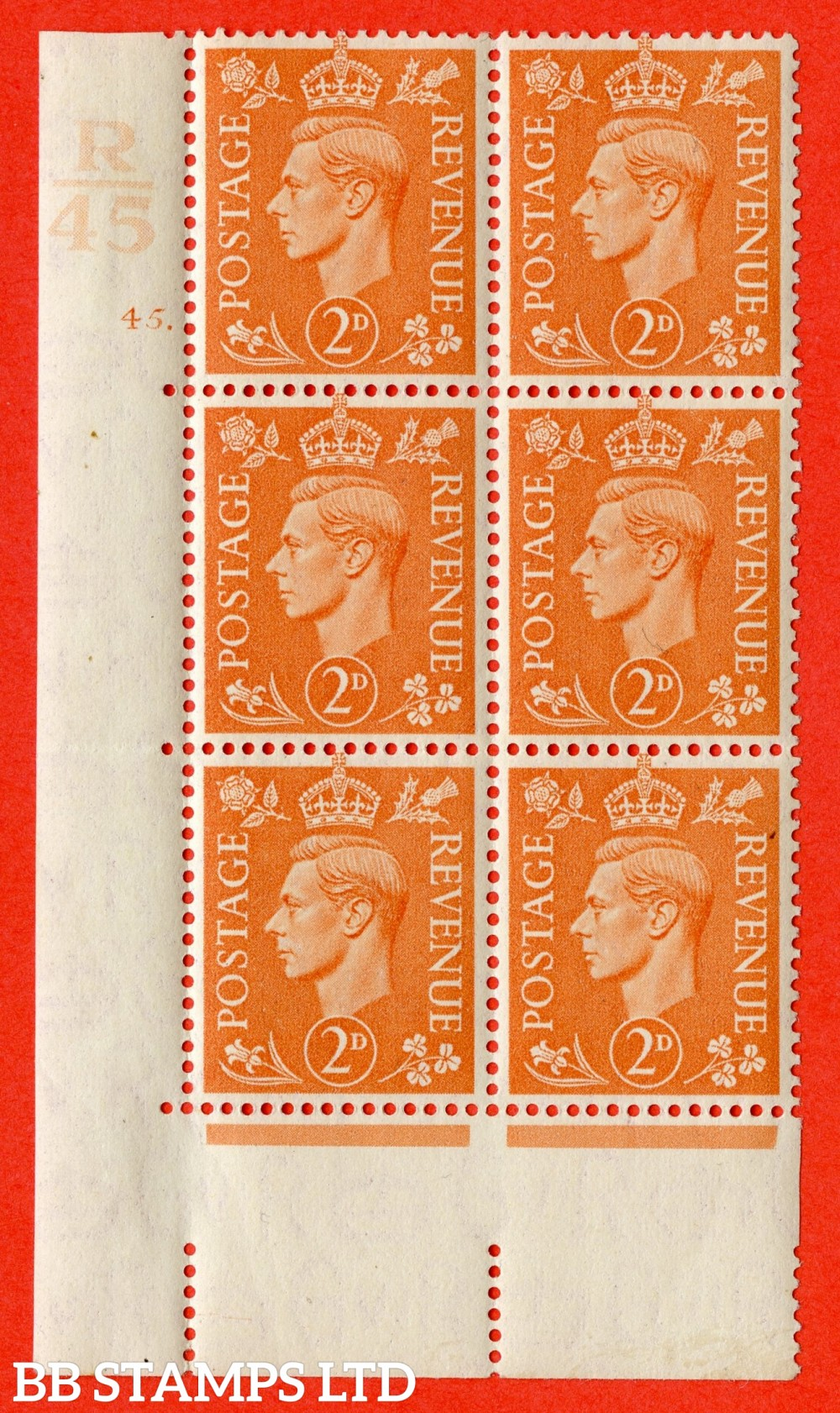 "SG. 488. Q11. 2d Pale Orange. A fine ligthtly mounted mint "" Control R45 cylinder 45 dot "" control block of 6 with perf type 5 E/I."