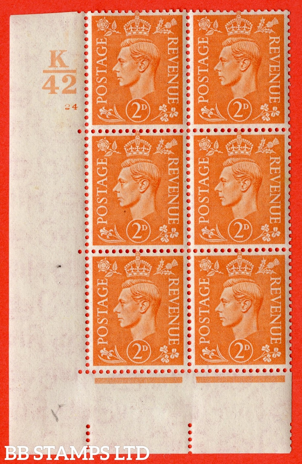 "SG. 488. Q11. 2d Pale Orange. A fine ligthtly mounted mint "" Control K42 cylinder 24 no dot "" control block of 6 with perf type 5 E/I."