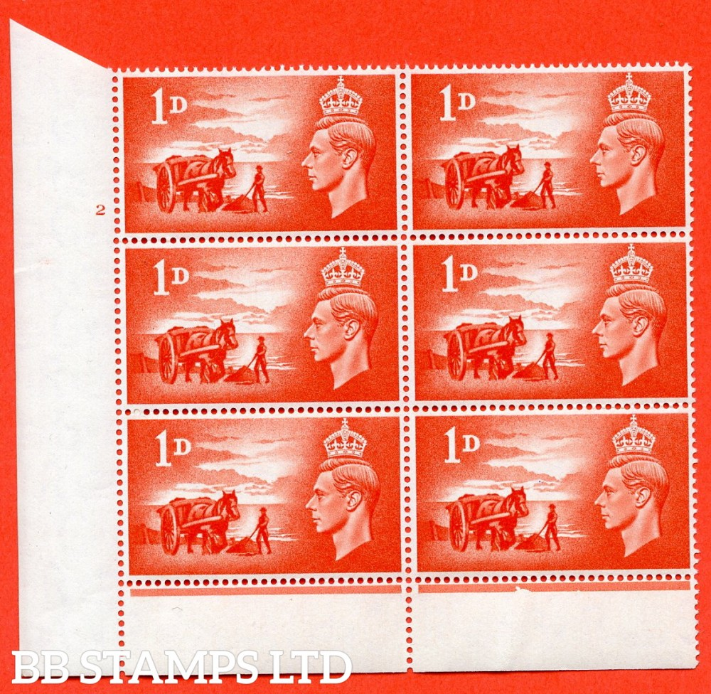 "SG. C1. QCom12 1d Scarlet.  "" UNMOUNTED MINT ""  Cylinder 2 no dot. Cylinder block of 6 perf type 6 I/P."