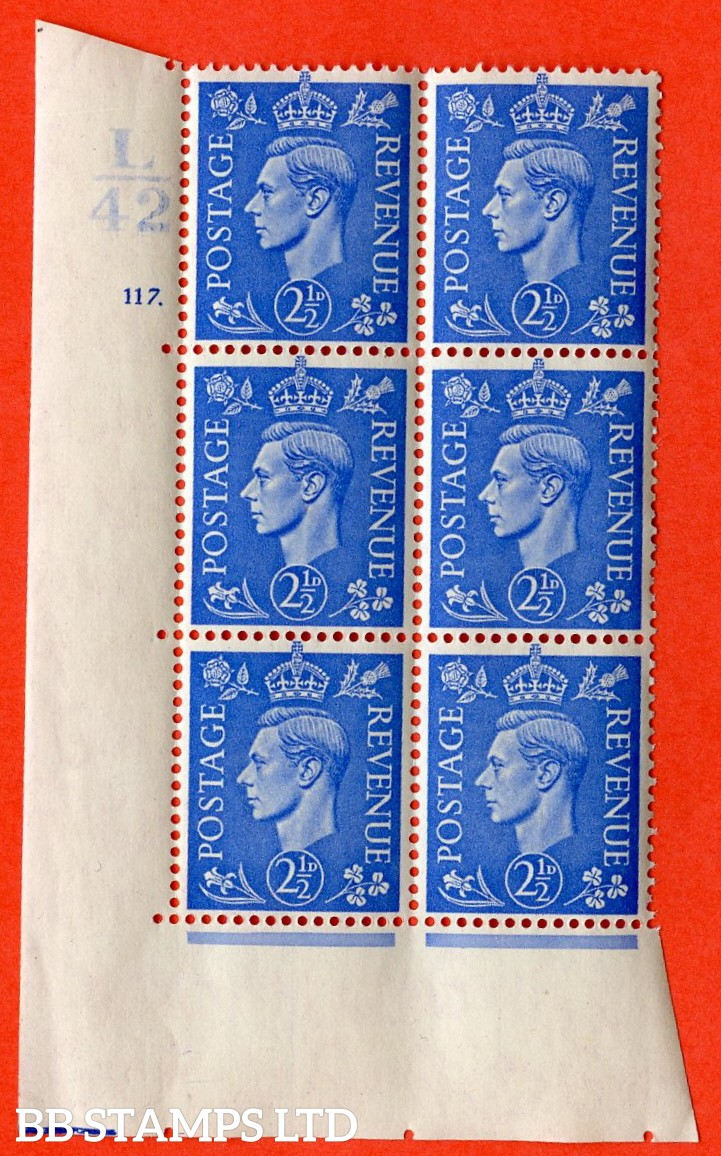 "SG. 489. Q14. 2½d Light ultramarine. A  superb UNMOUNTED MINT "" Control L42 cylinder 117 dot "" control block of 6 with perf type 5 E/I."
