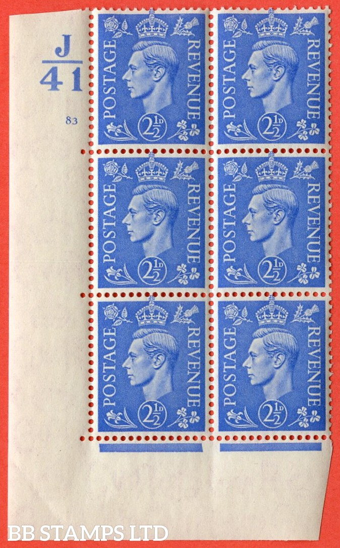 "SG. 489. Q14. 2½d Light ultramarine. A superb UNMOUNTED MINT""  Control J41 cylinder 83 no dot "" control block of 6 with perf type 5 E/I."