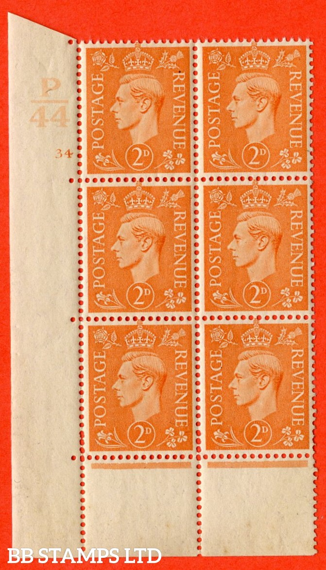 "SG. 488. Q11. 2d Pale Orange. A very fine lightly mounted mint. "" Control P44 cylinder 34 no dot "" control block of 6 with perf type 5 E/I."